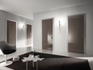 Bi-System Panvi Stainless Steel Architraves, Shiny Chocolate Glass